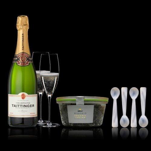 conjunto caviar ecologico clasico 120200gr taittinger brut reserve 75cl 4 cucharillas madreperla 2453028