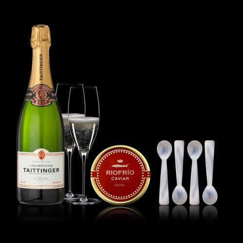 conjunto caviar russian clasico 100200gr taittinger brut reserve 75cl 4 cucharillas madreperla 2453030